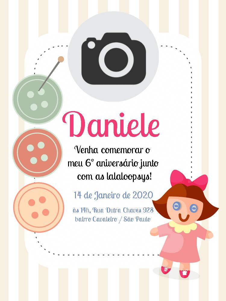 Convite Aniversário lalaloopsy, festa, infantil, rosa, menina boneca, botões, foto, comoração, celebração, online, digital, personalizado, whatsapp