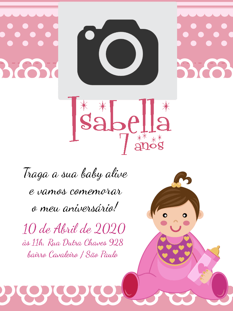 Convite Aniversário Baby Alive, rosa, bebê, chá, foto, infantil, menina, comemoração, celebração, online, digital, personalizado, whatsapp