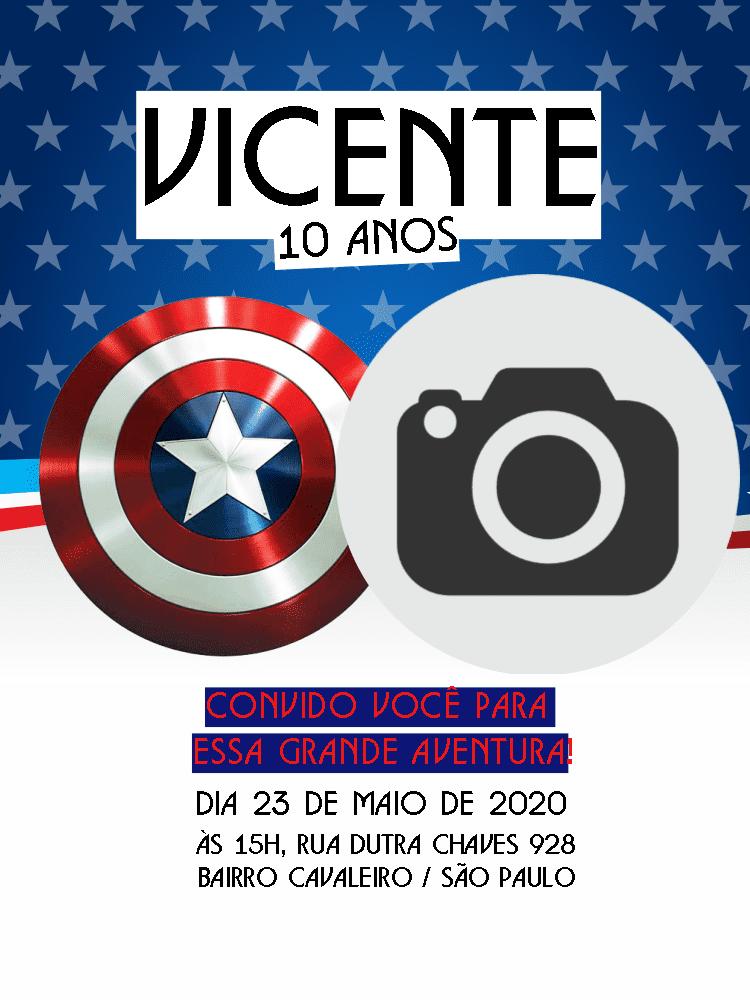 Convite Aniversário capitão América, festa, infantil, azul, menino, escudo, foto, estrela, vermelho, branco, comemoração, celebração, online, digital, personalizado, whatsapp