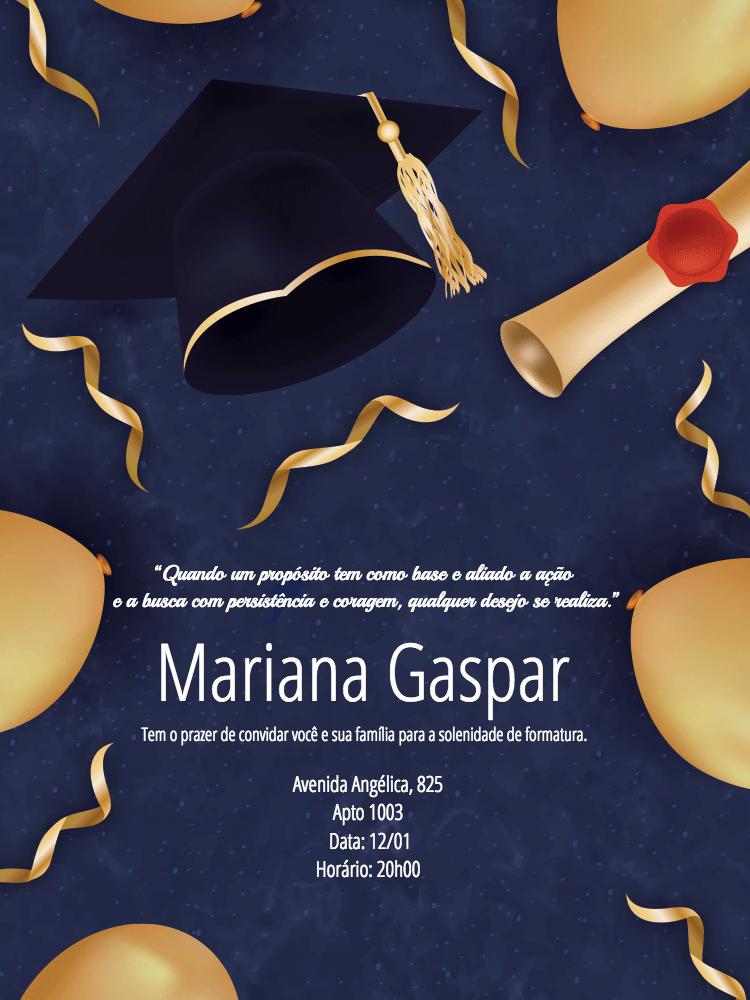 Convite de Formatura, azul, dourado, balão, formando, chapéu, capelo, certificado, balões, adulto, comemoração, celebração, online, digital, personalizado, whatsapp