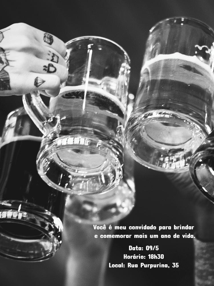 Convite Aniversário Cerveja, brinde, caneca, bebida, festa, adulto, preto, branco, comemoração, celebração, online, digital, personalizado, whatsapp