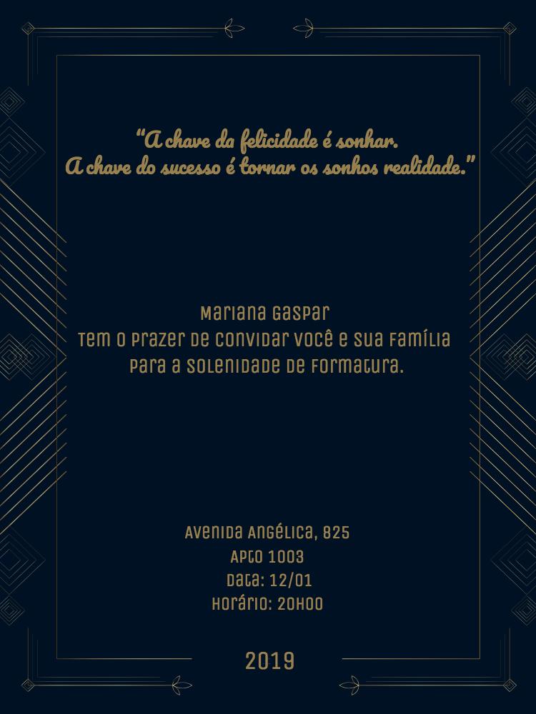 Convite Formatura, azul, geométrico, dourado, formatura, escuro, delicado, comemoração, celebração, online, digital, personalizado, whatsapp