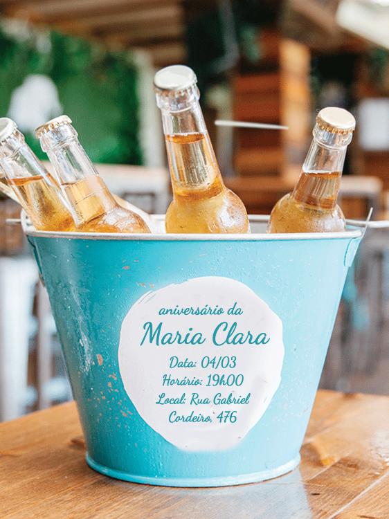 Convite Aniversário Cerveja, balde, bebida, festa, adulto, comemoração, celebração, online, digital, personalizado, whatsapp