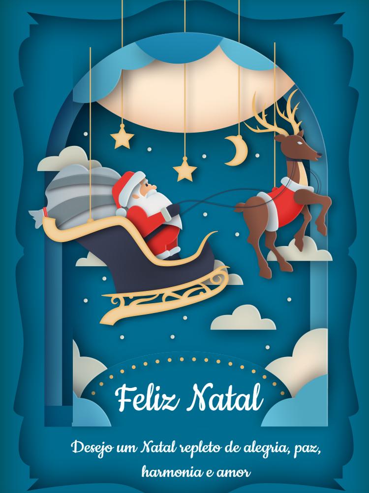 Cartão Feliz Natal, azul, papai, noel, renas, felicitações, online, digital, personalizado, whatsapp, estrela, lua