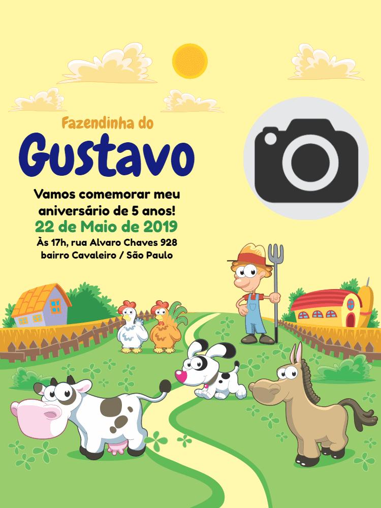 Convite Aniversário fazendinha, fazenda, foto, menino, animais, cachorro, cavalo, vaca, galinha, fazendeiro, comemoração, celebração, online, digital, personalizado, whatsapp, infantil
