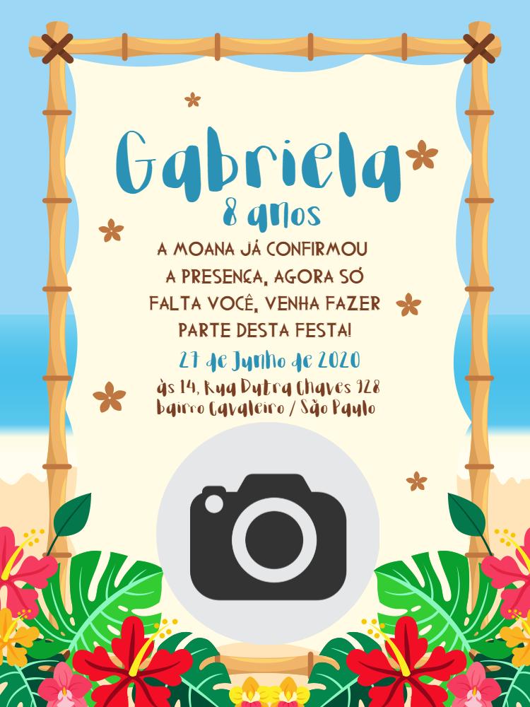 Convite Aniversário Moana, festa, infantil, praia, tropical, chá, bebê, plantas, foto, menina, comemoração, celebração, online, digital personalizado,  whatsapp