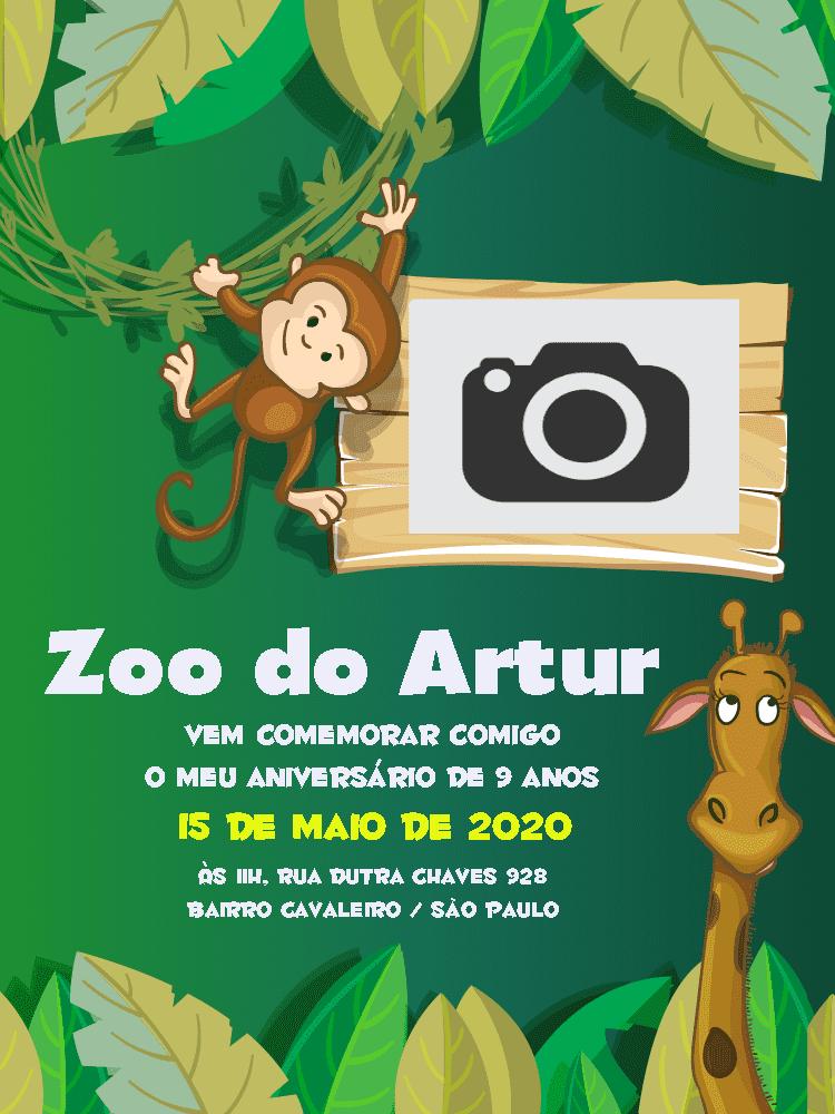 Convite Aniversário Zoológico, animais, selva, macaco, girafa, festa, comemoração, celebração, online, digital, personalizado, whatsapp, infantil, foto
