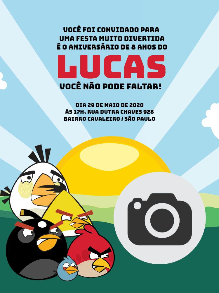 Convite Angry Birds, festa, infantil, menino, jogo, game, pássaros, comemoração, celebração, online, digital, personalizado, whatsapp