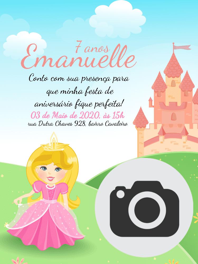 Convite Aniversário princesa, castelo, rosa, infantil, menina, delicado, foto, comemoração, celebração, online, digital, personalizado, whatsapp