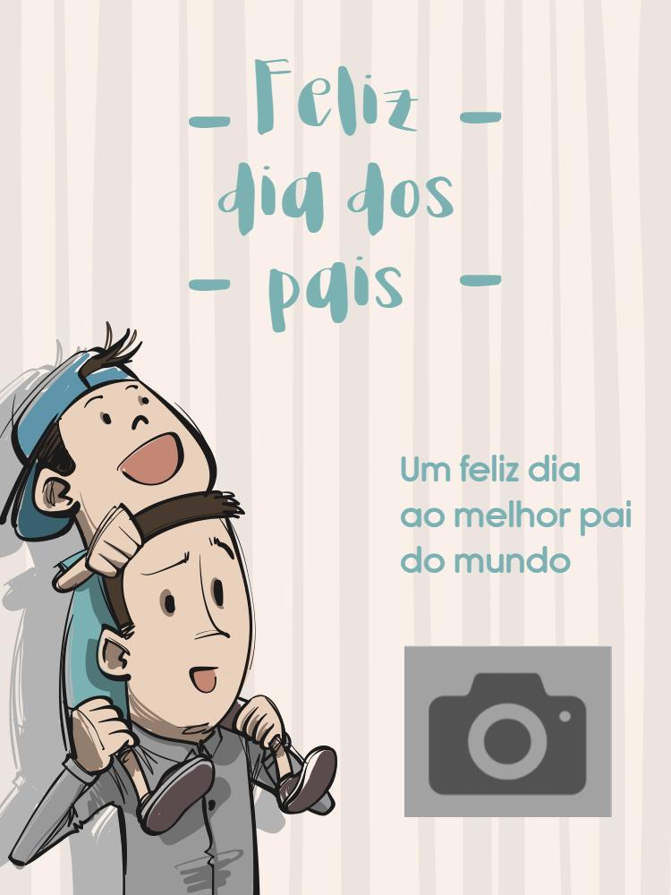 Cartão Dia dos pais, menino, pai, homem, foto, neutro, online, digital, personalizado, whatsapp