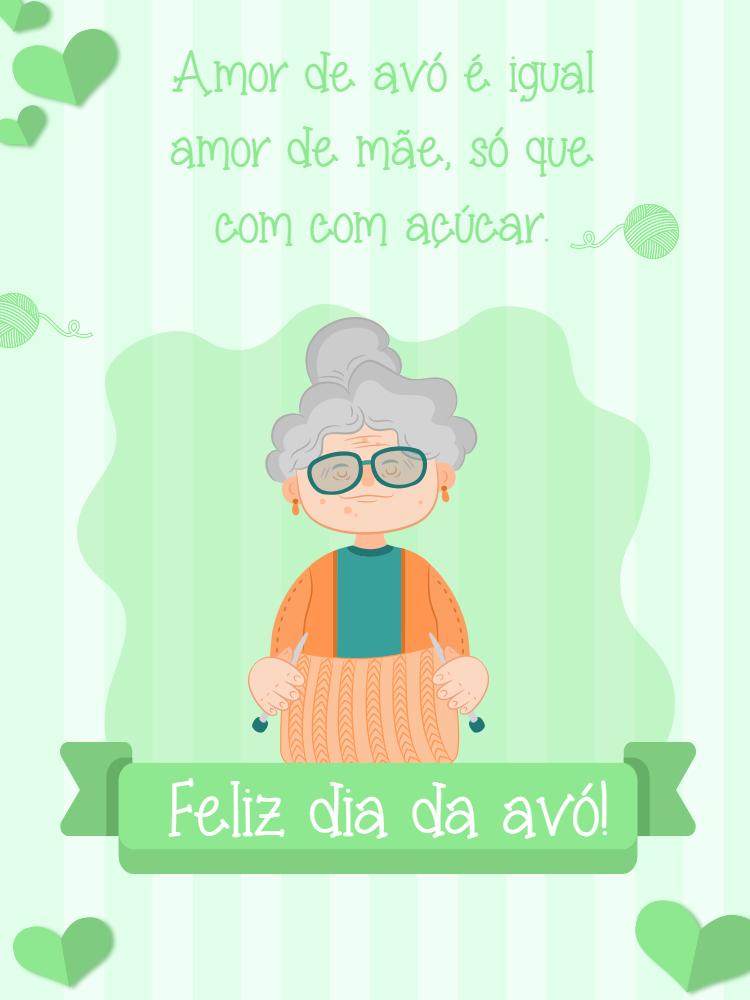 Cartão Dia da avó, avós, verde, felicitações, trico, coração, online, digital, personalizado, whatsapp