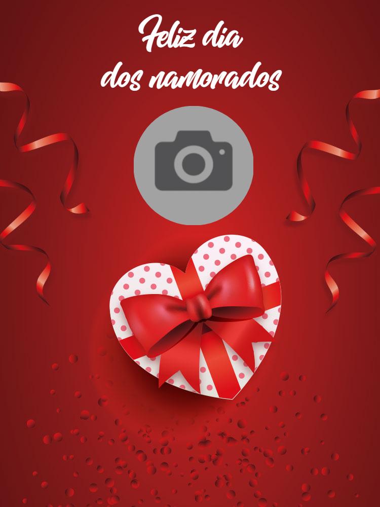 Cartão dia dos namorados, amor, coração, confete, vermelho, foto, online, digital, personalizado, whatsapp