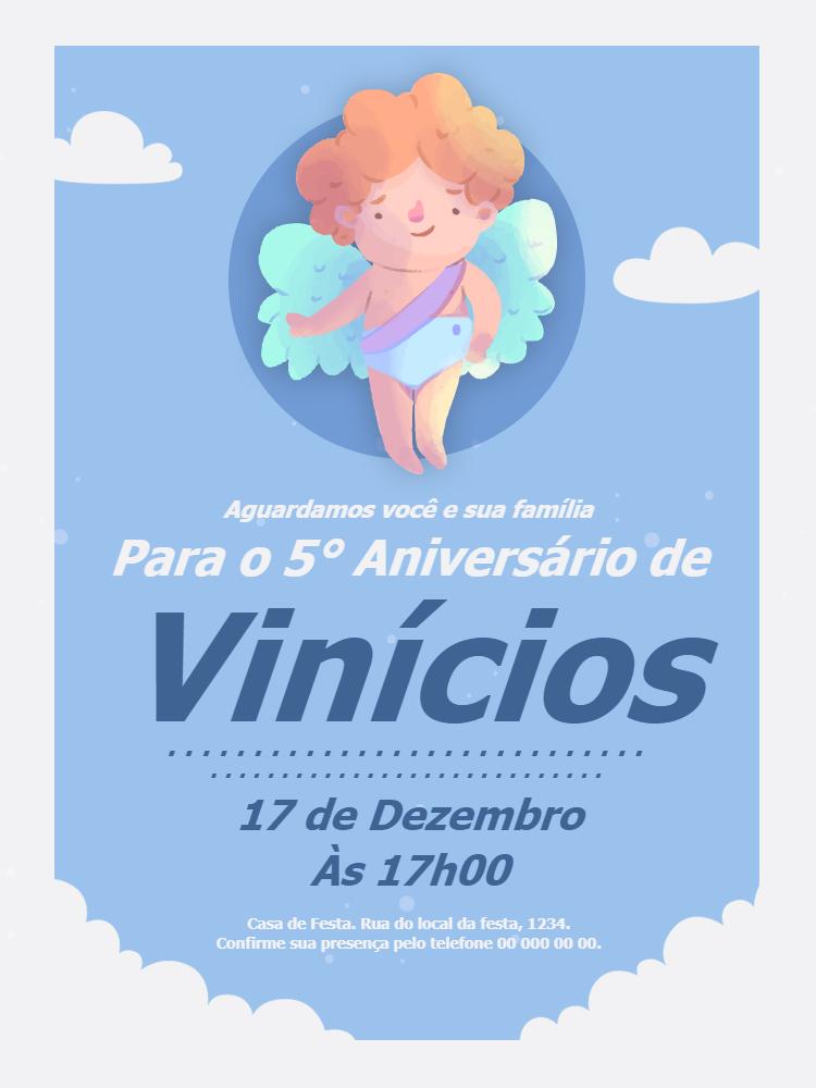 Convite Aniversário Anjo Menino, infantil, festa, menino, anjo, azul, chá, bebê, nuvem, comemoração, celebração, online, digital, personalizado, whatsapp