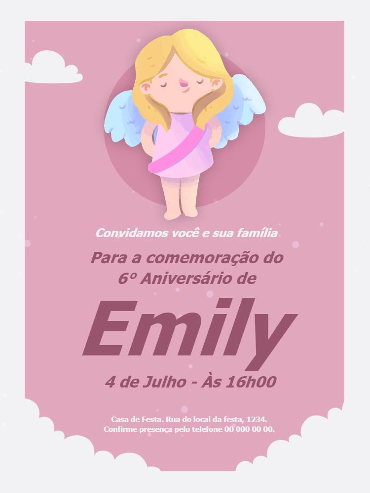 Convite Aniversário Anjo Menina, infantil, festa, nuvem, rosa, delicado, comemoração, celebração, online, digital, personalizado, whatsapp, chá, bebê