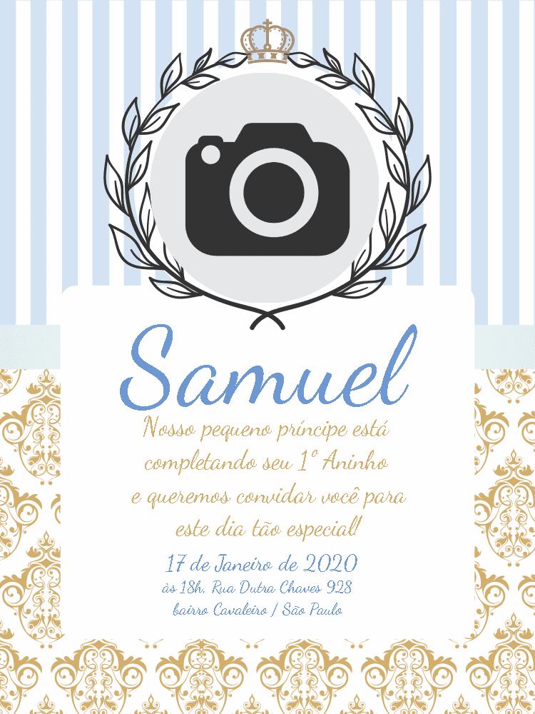 Convite Aniversário Pequeno Príncipe, festa, infantil, menino, azul, coroa, dourado, chá, bebê, comemoração, celebração, online, digital, personalizado, whatsapp, foto