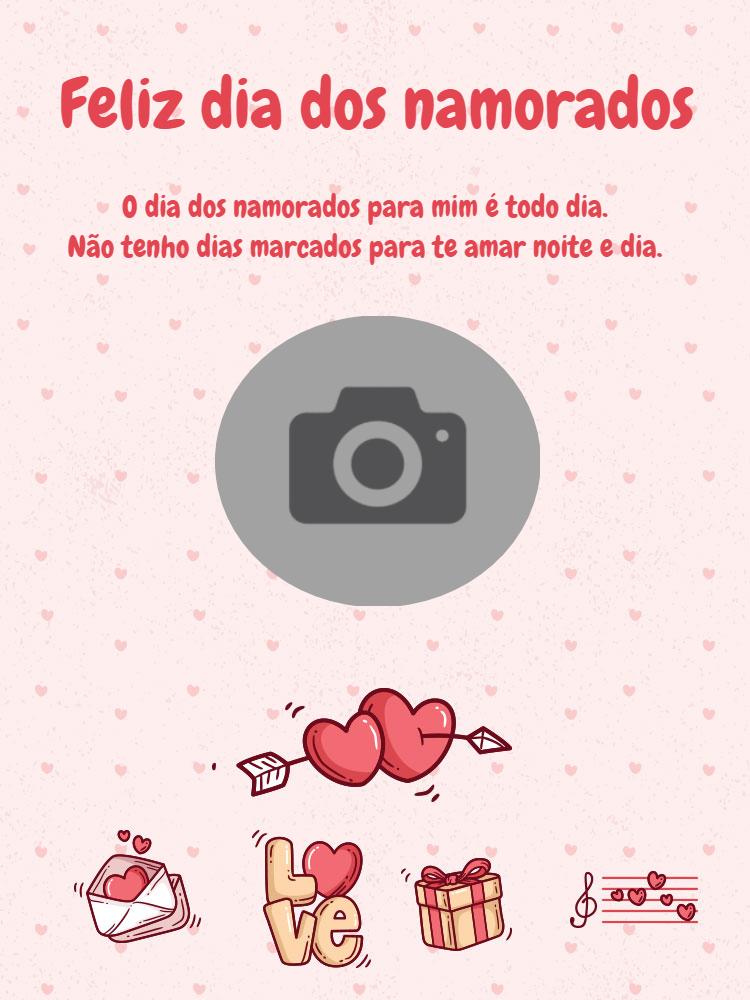 Cartão dia dos namorados, amor, foto, coração, carta, presentes, música, delicado, fofo, online, digital, personalizado, whatsapp