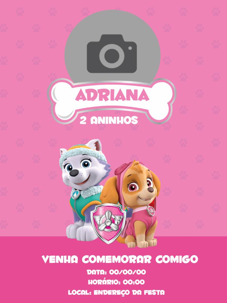 Convite de aniversário patrulha canina, Cartão, rosa,  paw patrol, festa, infantil, foto, lembrancinha, Skye, everest, menina, osso, patas