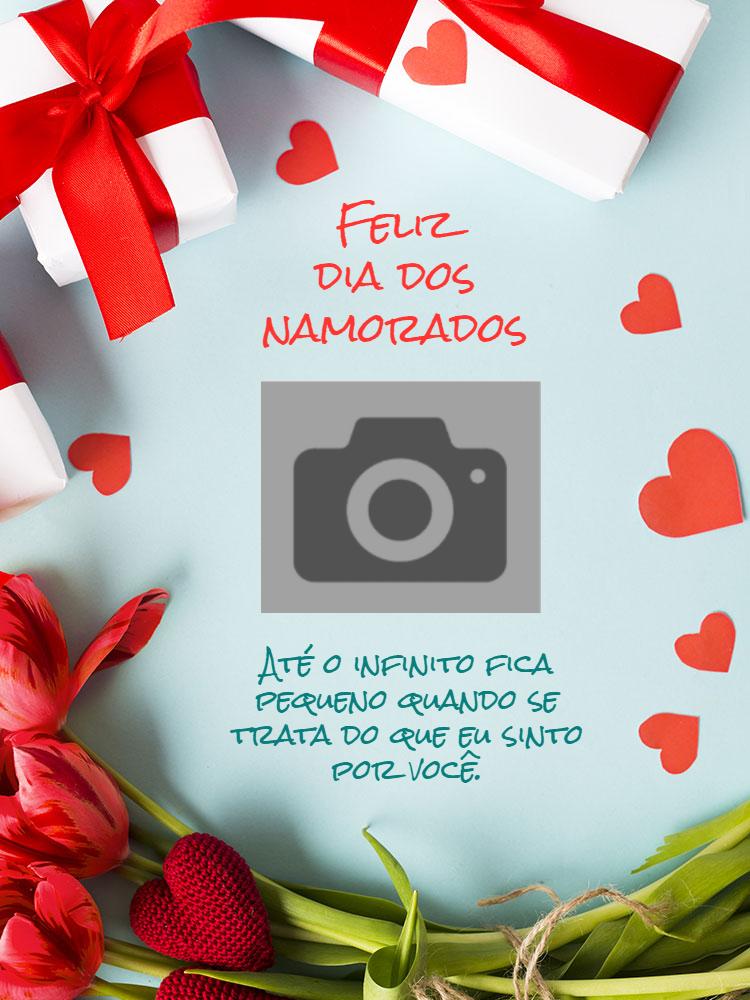 Cartão Dia dos namorados, amor, fofo, foto, coração, presente, flores, vermelho, branco, online, digital, personalizado, whatsapp