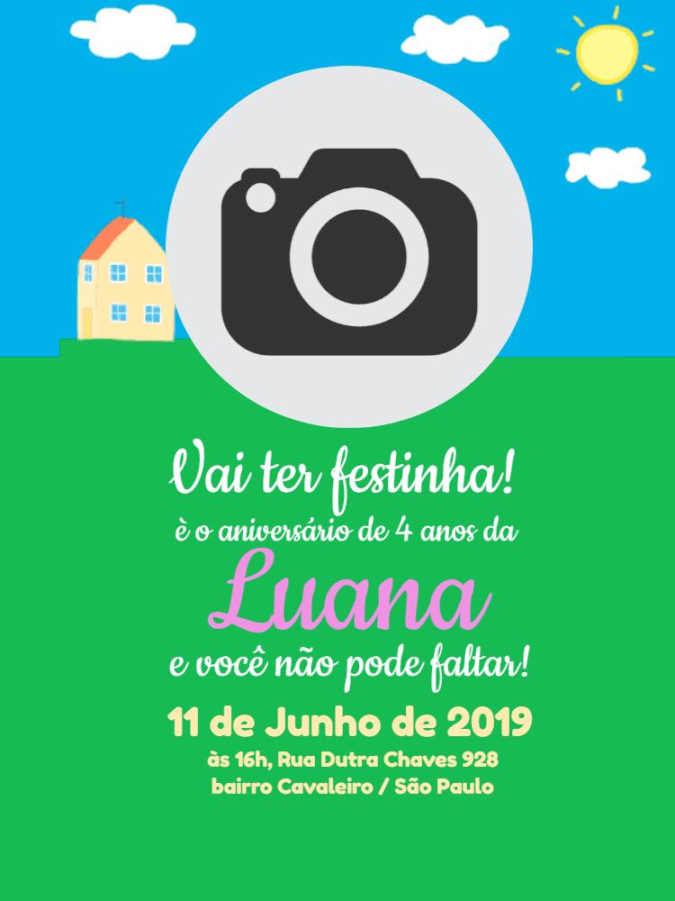 Convite Aniversário Peppa Pig, foto, jorge, festa, infantil, gramado, casa, céu, sol, comemoração, celebração, online, digital, personalizado, whatsapp