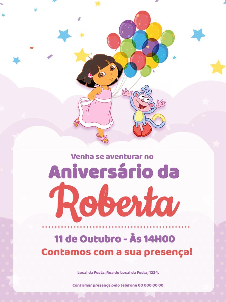 Convite Aniversário Dora Aventureira, festa, infantil, menina, rosa, balão, balões, estrelas, confete, colorido, macaco, comemoração, celebração, online, digital, personalizado, whatsapp