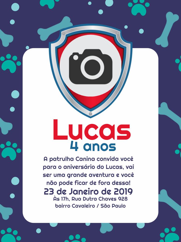 Convite Aniversário Patrulha Canina, foto, menino, osso, pata, azul, bolinhas, cachorros, pets, festa, infantil, comemoração, celebração, online, digital, personalizado, whatsapp