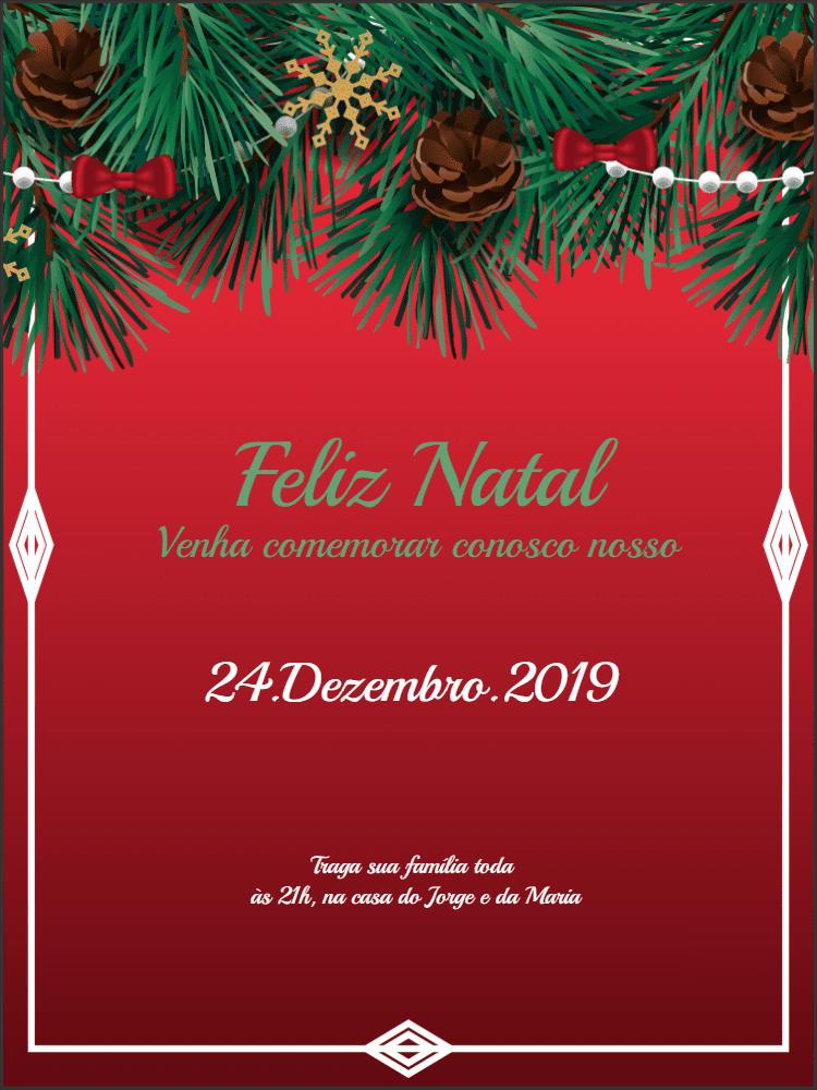 Convite natal, natal, convite, natalino, foto, ramo, pinhas, vermelho, comemoração, ceia, celebração, online, digital, personalizado, whatsapp