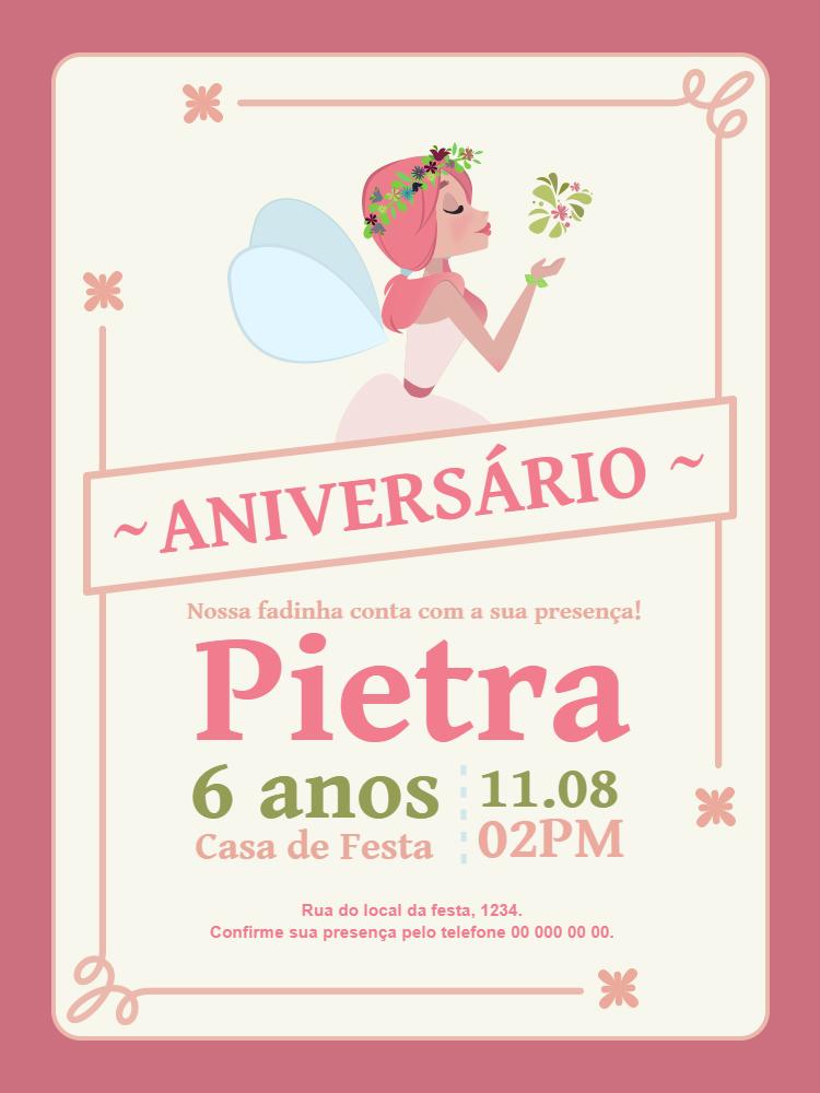 Convite Aniversário Fadas, infantil, festa, menina, rosa, arabesco, delicado, flores, comemoração, celebração, online, digital, personalizado, whatsapp