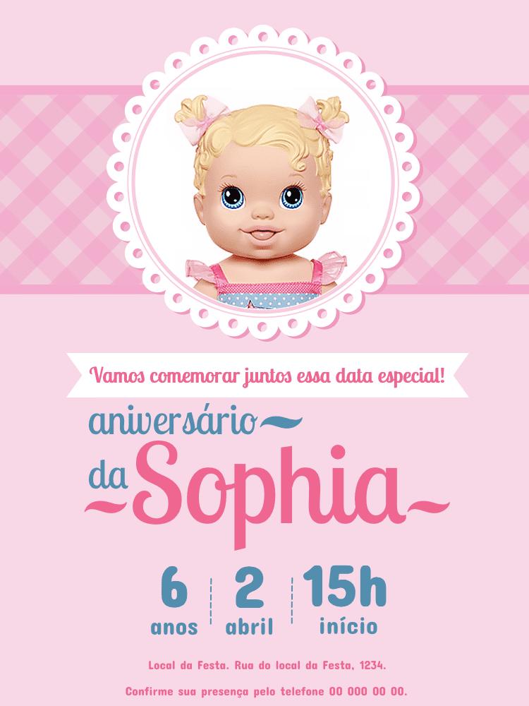 Convite Aniversário Baby Alive, festa, infantil, boneca, bebê, rosa, menina, comemoração, celebração, online, digital, personalizado, whatsapp