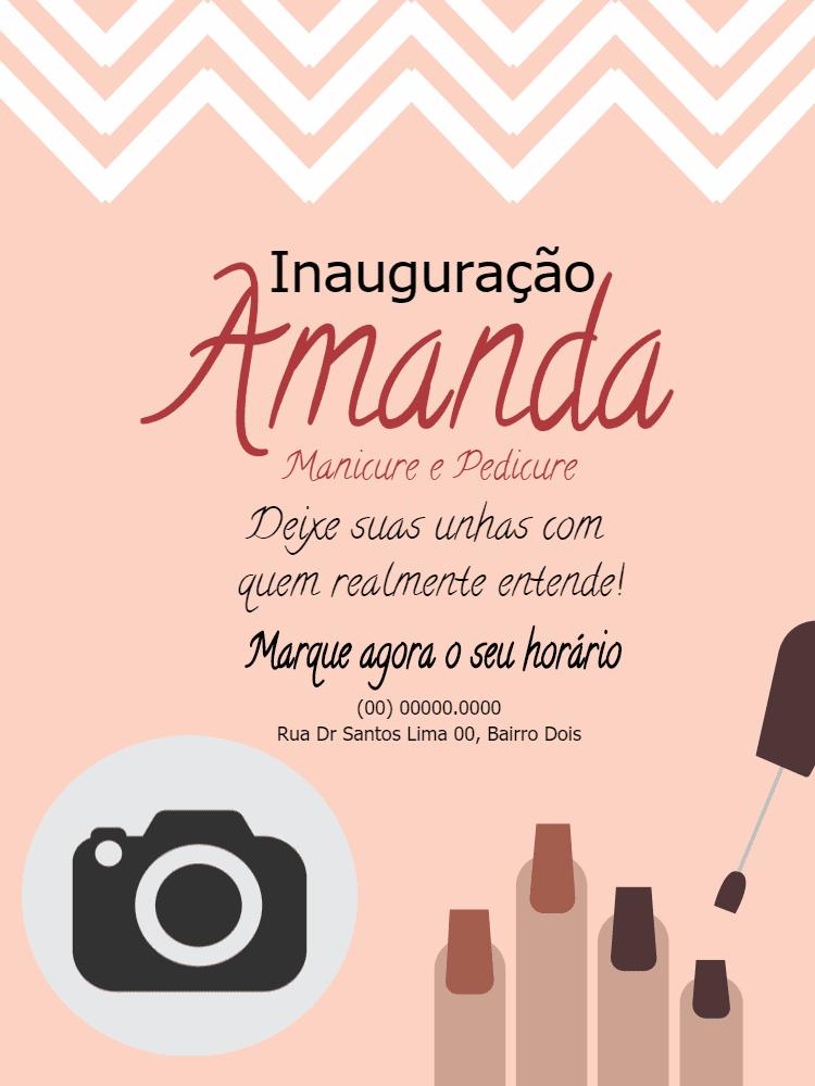 Convite inauguração manicure, foto, inauguração, esmalte, unhas, unha, rosa, propaganda, divulgação, online, digital, personalizado, feminino, whatsapp