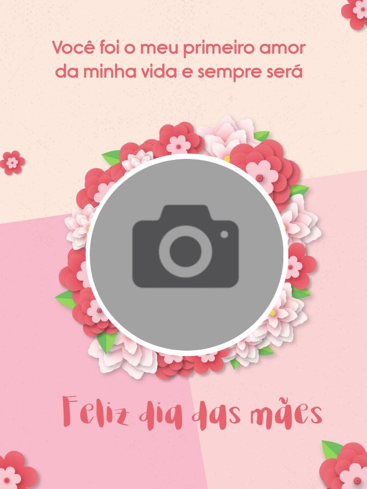 Cartão dia das mães, foto, delicado, feminino, flores, rosa, online, digital, personalizado, whatsapp