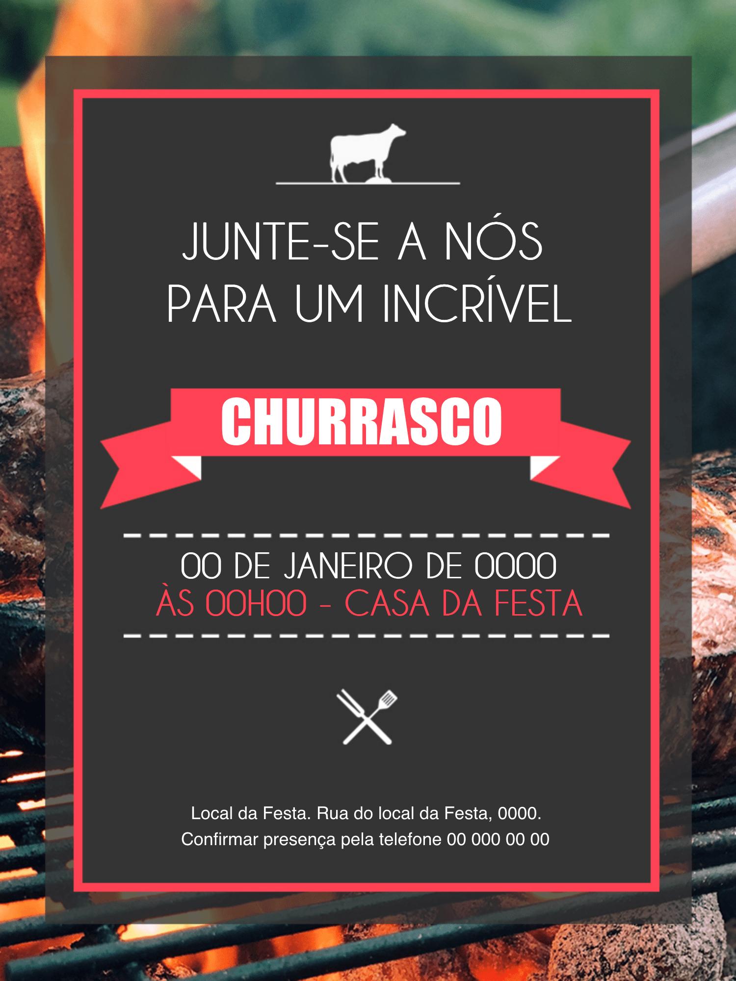 Convite Churrasco, festa, comemoração, adulto, homem, assado, carne, fogo, comemoração, celebração, janta, almoço, online, digital, personalizado, whatsapp