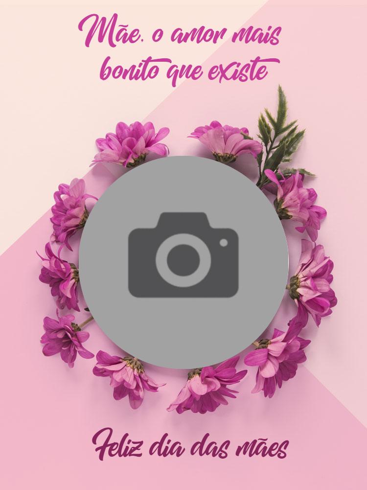 Cartão dia das mães, flores, foto, roxo, online, digital, personalizado, whatsapp
