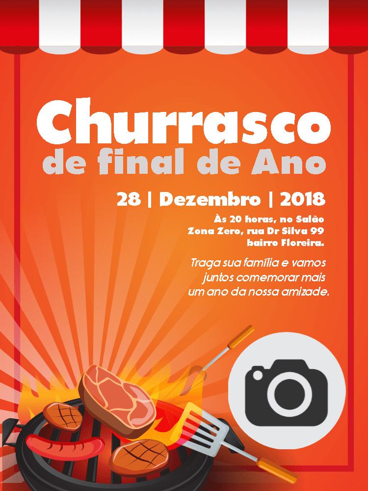Convite churrasco, barraca, foto, carne, comemoração, celebração, online, digital, personalizado, whatsapp