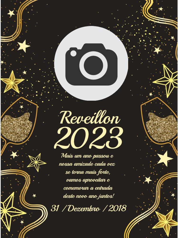 Convite Reveillon, festa, adulto, ano, novo, estrelas, champanhe, dourado, foto, aniversário, bodas, comemoração, celebração, online digital, personalizado, whatsapp