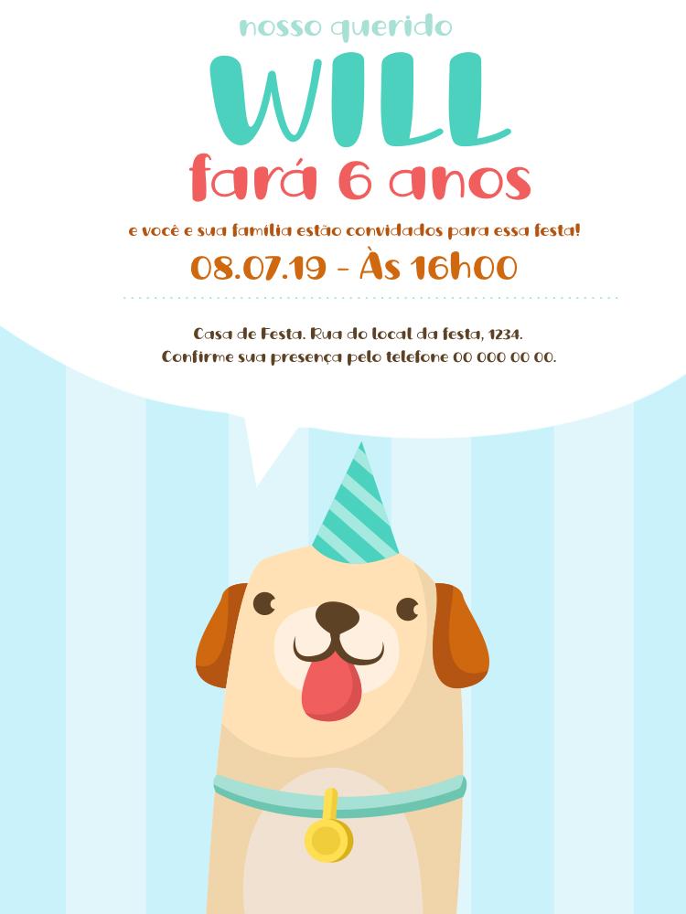 Convite Aniversário Cachorrinho, infantil, festa, menino, azul, delicado, comemoração, celebração, online, digital, personalizado, whatsapp