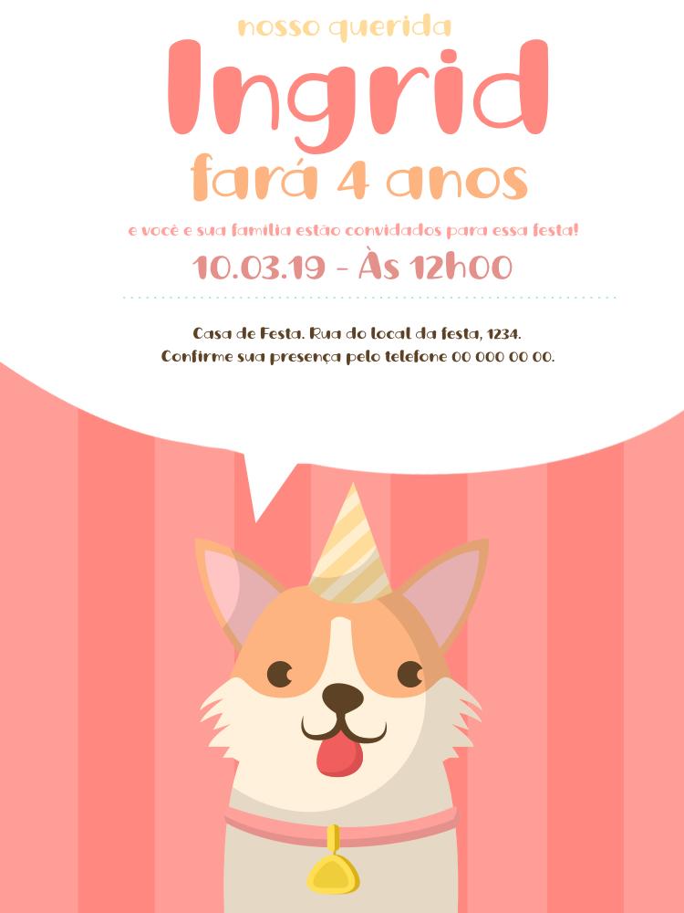 Convite Aniversário Cachorrinho, infantil, festa, menina, rosa, delicado, comemoração, celebração, online digital, personalizado, whatsapp