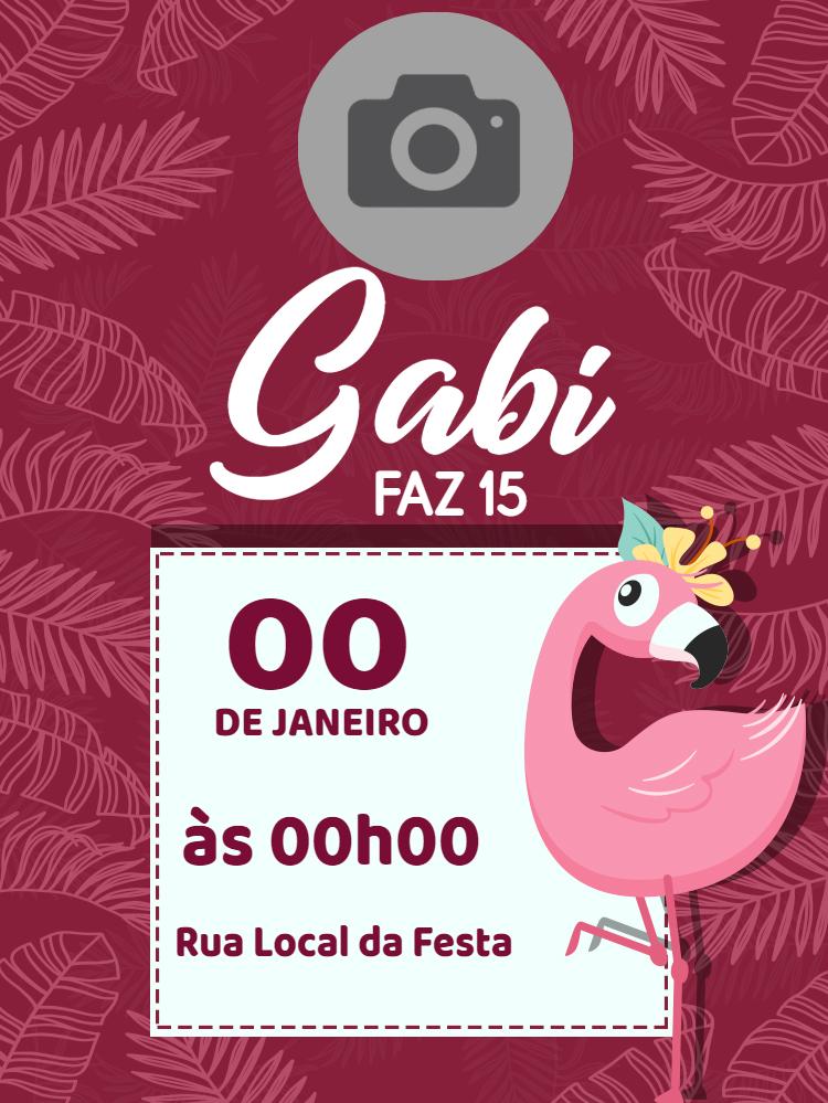 Convite Aniversário Flamingo, flamingos,  verão, menina, delicado, infantil, moderno, tropical, divertido, romântico , festa, piscina, foto, folhas, feminino, 15 anos, comemoração, celebração, online, digital, personalizado, whatsapp