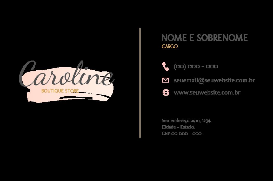 Cartão Verso Boutique, visita, boutique, feminino, moda, roupa,  joalheria, cosmético, loja, comércio, logo, delicado, online, digital, personalizado, whatsapp
