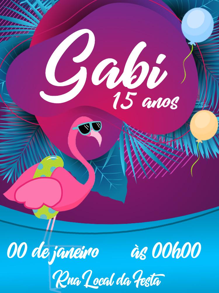 Convite Aniversário Flamingo, verão, rosa, menina, boia, delicado, praia, moderno, tropical, festa, cartão, piscina, foto, azul, folhas, abacaxi, luau, feminino, 15 anos, balão, balões, comemoração, celebração, online, digital, personalizado, whatsapp