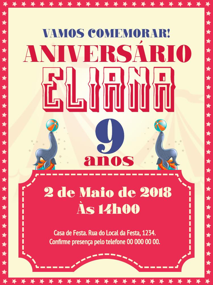 Convite Aniversário Circo, infantil, festa, comemoração, foca, bolas, celebração, online, digital, personalizado, whatsapp, estrelas