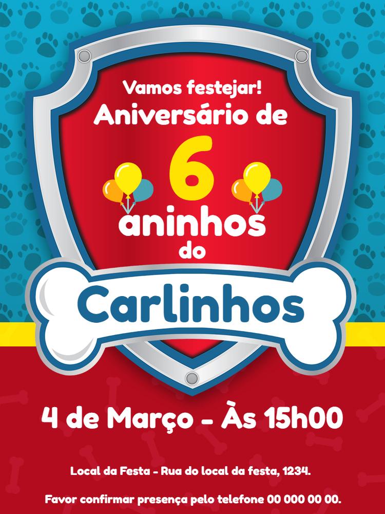 Convite aniversario Patrulha Canina, festa, osso,  infantil, vermelho, azul, patinha, infantil, menino, comemoração, celebração, online, digital, personalizado, whatsapp, balão, balões