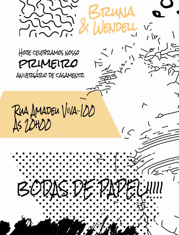 Convite Bodas de Papel Rabiscado, Rabiscos, amarelo, preto, divertido, festa, adulto, casamento, comemoração, celebração, online, digital, personalizado, whatsapp