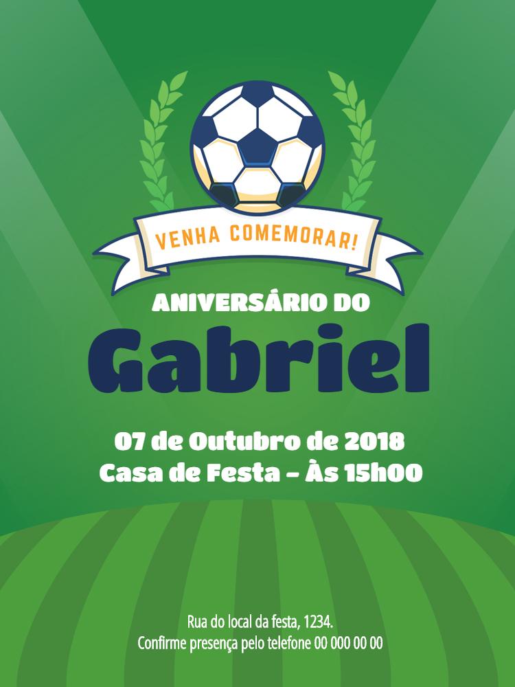 Convite Futebol, festa, infantil, bola, verde, menino, comemoração, celebração, online, digital, personalizado, whatsapp