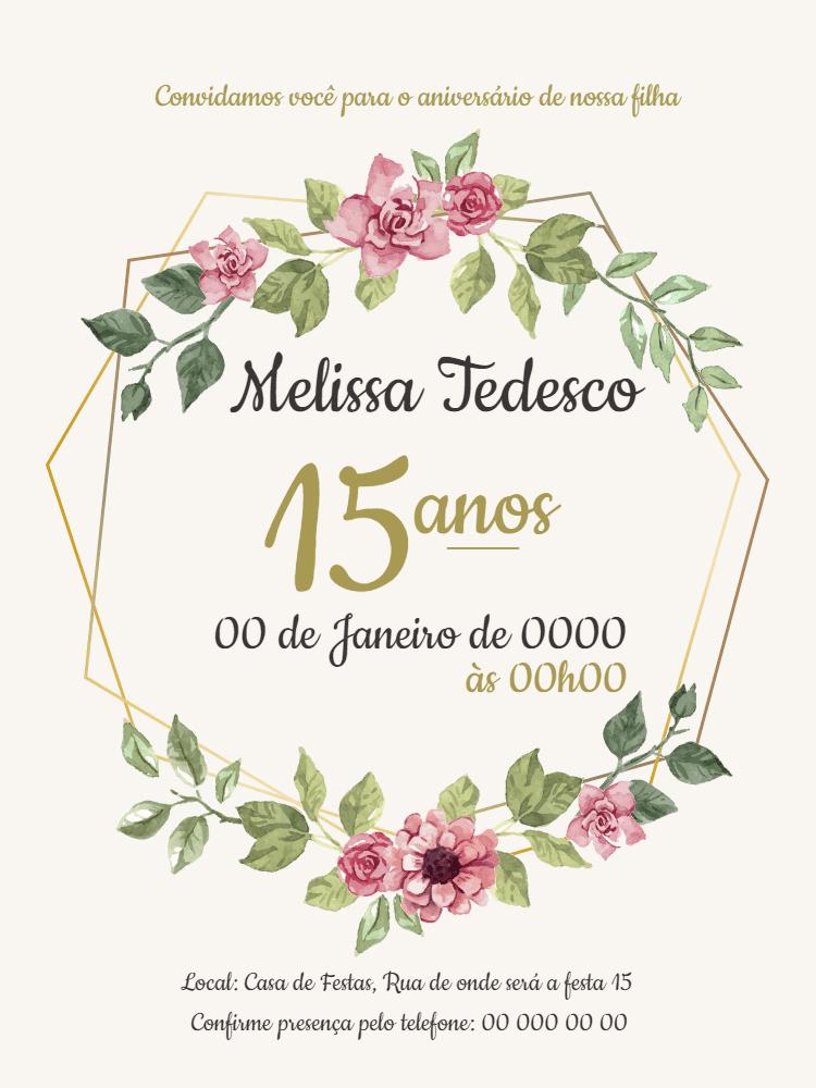 Convite 15 anos, festa, debutante, 15 anos, flores, aniversário, adulto, casamento, feminino, delicado, comemoração, celebração, online, digital, personalizado, whatsapp