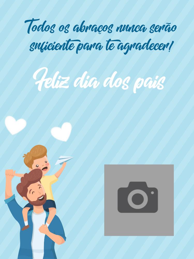 Cartão dia dos pais, amor, azul, foto, homem, menino, coração, celebração, online, digital, personalizado, whatsapp
