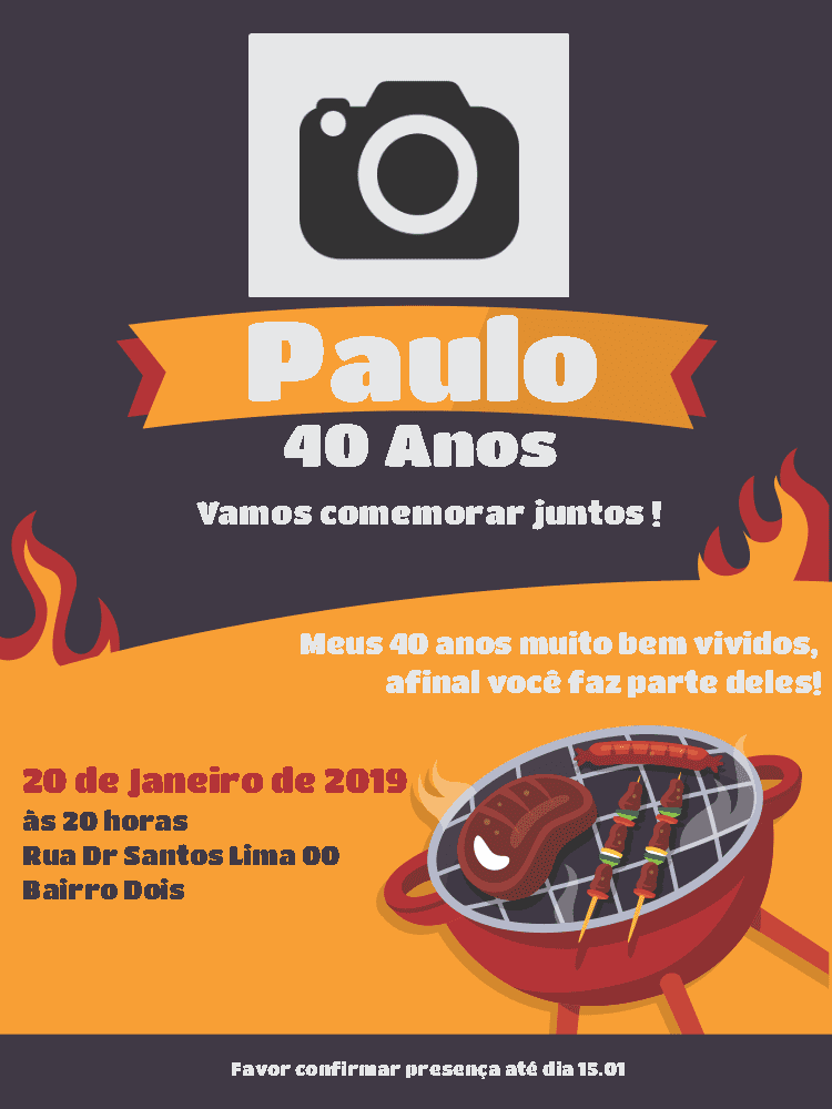 Convite Aniversário Churrasco, fogo, foto, comemoração, celebração, janta, almoço, masculino, adulto, online, digital, personalizado, whatsapp,