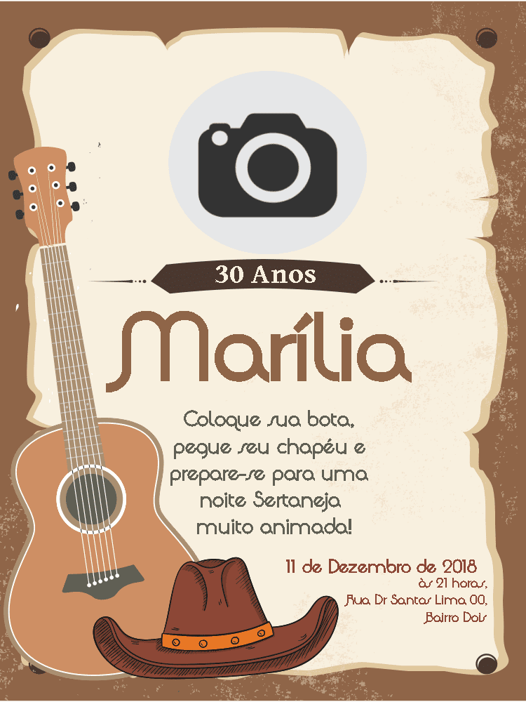 Convite Aniversário Sertanejo, foto, violão, cartaz, marrom, country, comemoração, celebração, online, digital, personalizado, whatsapp, chapéu