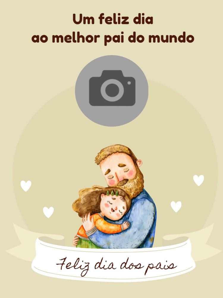 Cartão dia dos pais, filha, homem, menina, celebração, foto, bege, online, digital, personalizado, whatsapp