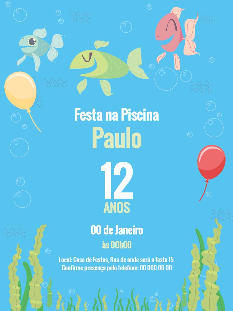 Convite niversário Peixes, festa, mar, piscina, balão, fundo, mar, algas, infantil, azul, comemoração, celebração, online, digital, personalizado, whatsapp