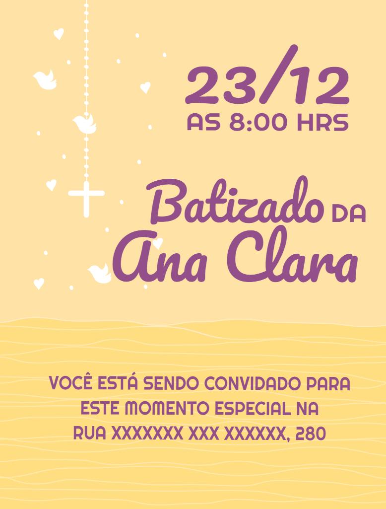 Convite Batizado Menina, Paz, batismo, religião, religioso, passarinhos, coração, terço, laranja, roxo, celebração, comemoração, online, digital, personalizado, whatsapp